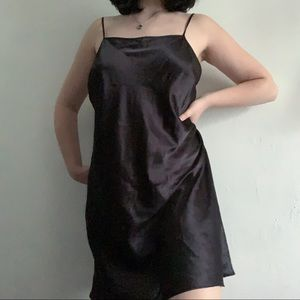 vintage black midi silk slip lingerie dress